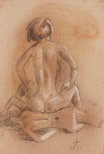 Frau, auf Gliederpuppe sitzend