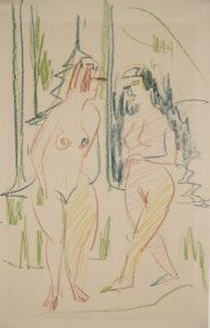 Zwei weibliche Akte im Walde