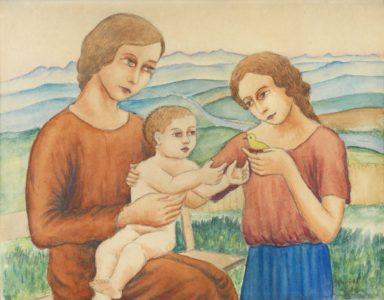 Georg Schrimpf: Frauen mit Kind vor Landschaft