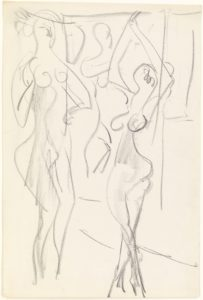 Ernst Ludwig Kirchner: Two acts in front of a nude painting