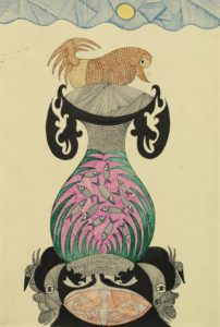 Scottie Wilson: vase with fish